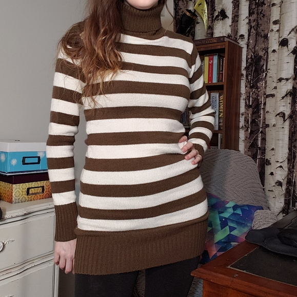 Striped bodycon turtleneck sweater dress